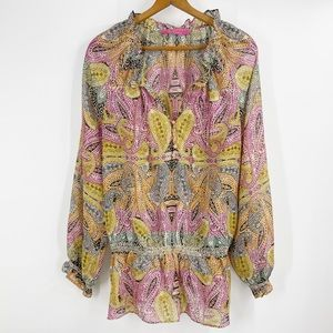 Robert Graham paisley silk long sleeve top blouse